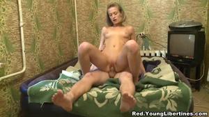 Modest blonde rides partner's cock like a slutty bitch