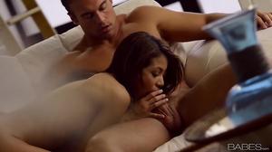 Mesmerizing Latina slowly rides boyfriend's cock
