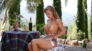 Buxom lovely has fun with trimmed sissy outdoors