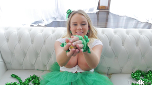 Leprechaun with juicy tits and butt rides lucky guy's dick