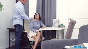 Nerdy brunette is screwed in ass by her hung crammer