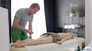 Blonde chick has sexual intercourse with personal masseur