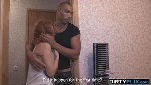 Redhead sleeps with Mulatto in bed next to tied up boyfriend