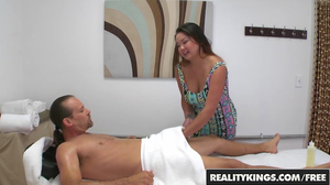 Busty young masseuse gets fucked hard on a bed
