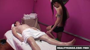 Skinny youthful masseuse enjoys sideways fucking