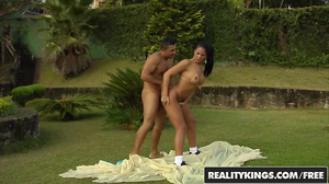 Tan lines Latina with a ponytail gets fucked outdoors