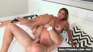 Busty Latina hoe gets fucked hard on a white bed