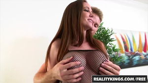 Cock crazed redhead in a bodysuit gets fucked on a bed
