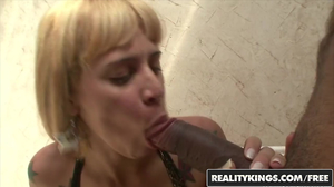 Youthful transsexual blonde takes a huge black cock