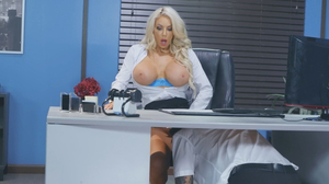 Assertive blonde bimbo fucks a timid office worker