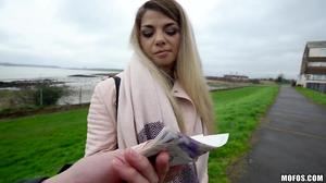 Vicious outdoor sex with a cutesy European blonde