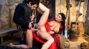 Busty brunette gets fucked in a Game of Thrones parody