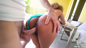 Frizzy haired black girl gets fucked in the backyard