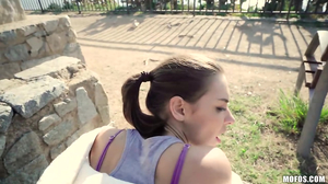Ponytailed Euro hoe bent over and banged from behind