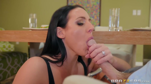 Dark haired whore with huge tits cheats on husband