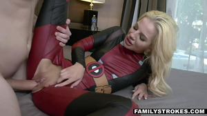Woman in a Deadpool costume fucks a dude in HD