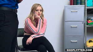 Blue eyed young blonde is fucked cause she stole