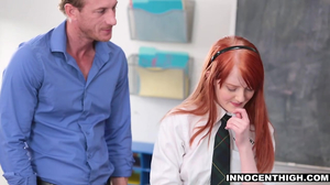 Redheaded college student gets fucked by the teacher