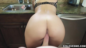 Blindfolded young blonde is surprised by her stepbro
