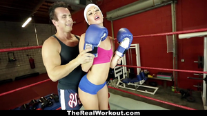 Boxing ring sex for a bruentte and a horny dude
